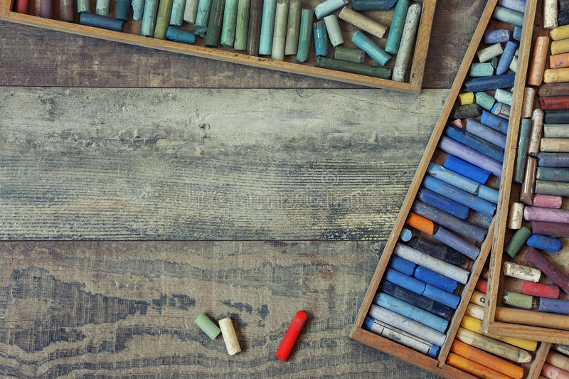 Colored pastel crayons royalty free stock photo