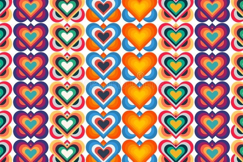 Colored pattern with heart. Red, green, yellow, orange, purple, pink and blue elements.  Vector illustration design royalty free illustration