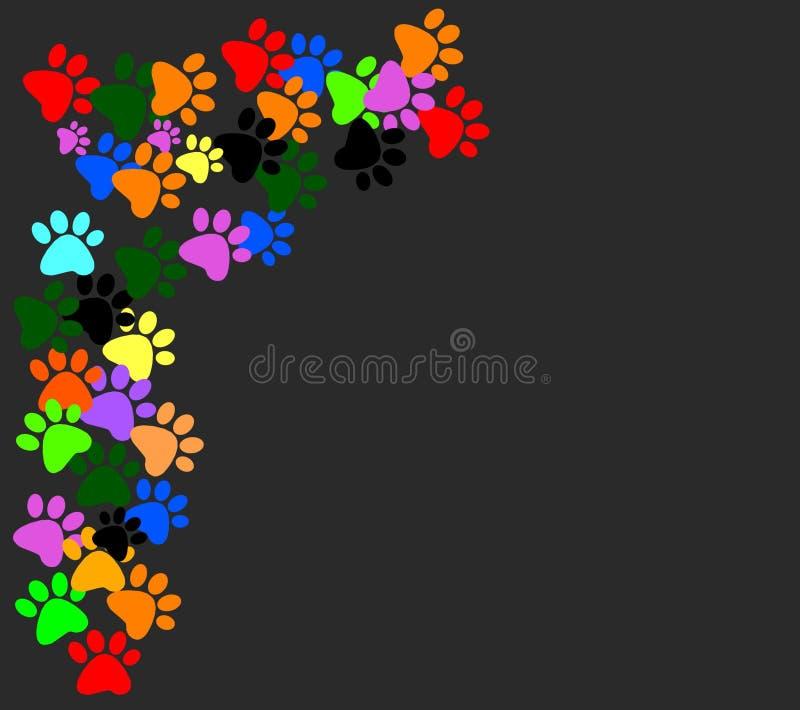 Colored pawprints on black background stock illustration