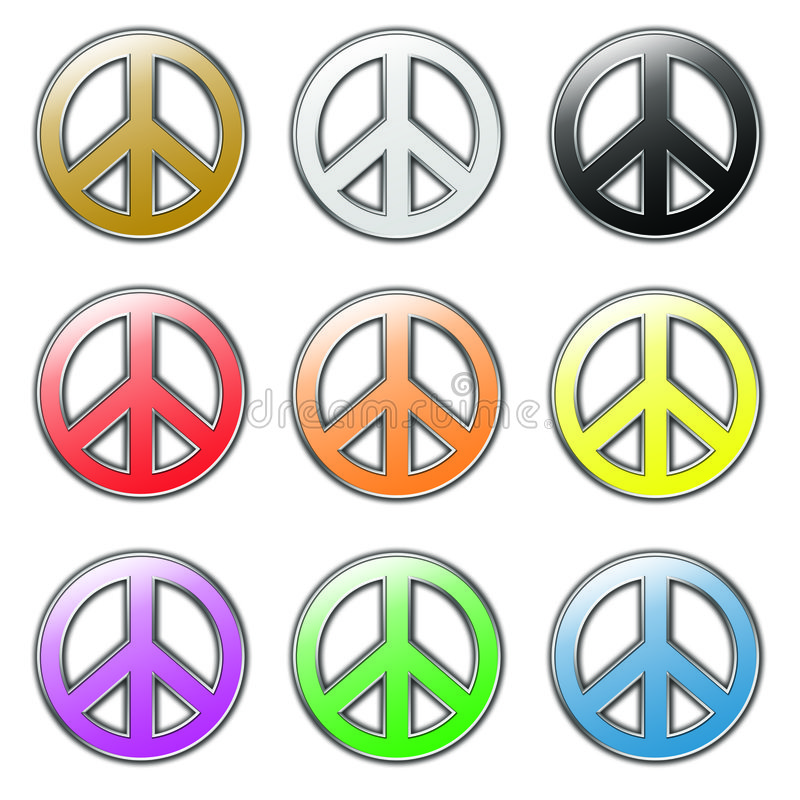 Free Colored Peace Symbols Stock Photography - 6249192