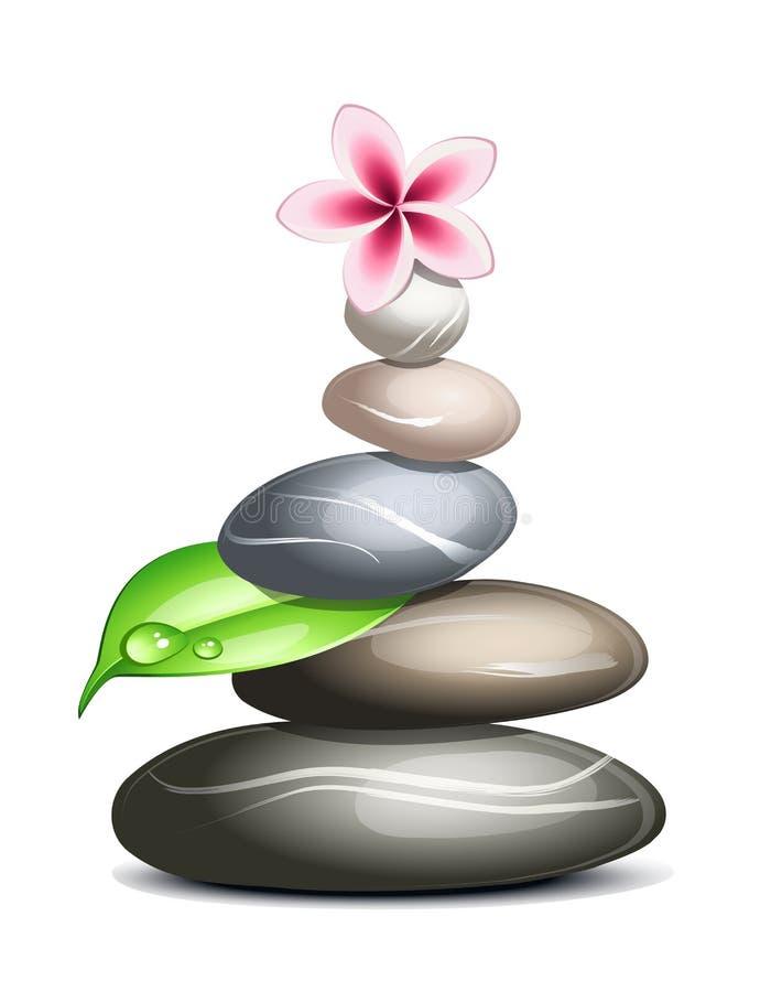 Colored pebbles over white vector illustration
