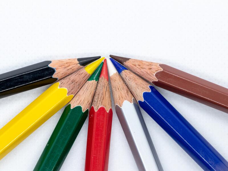 Colored pencil. A colored pencil American English, coloured pencil Commonwealth English,[1] pencil crayon, lead or coloured/colouring lead Canadian English royalty free stock photo
