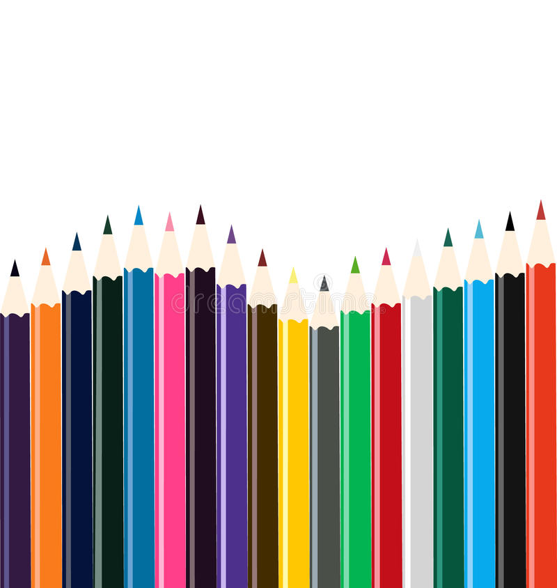 Download Colored pencil arrangement stock vector. Image of colourful - 11001357