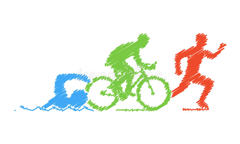 Colored pencil drawing of the logo triathlon. Figures triathlete royalty free stock photography