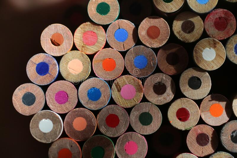 Colored pencil ends, the unsharpened ends. Are seen in this close up photo stock photography