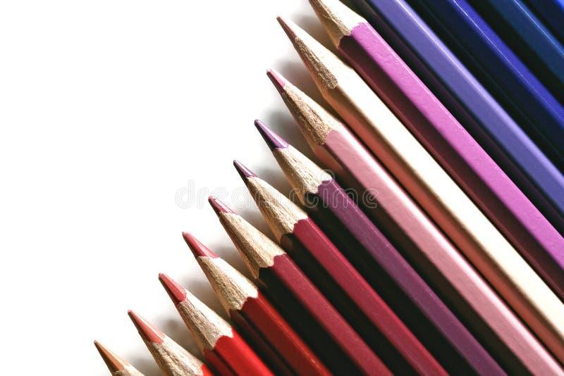 Colored pencil gradation stock image