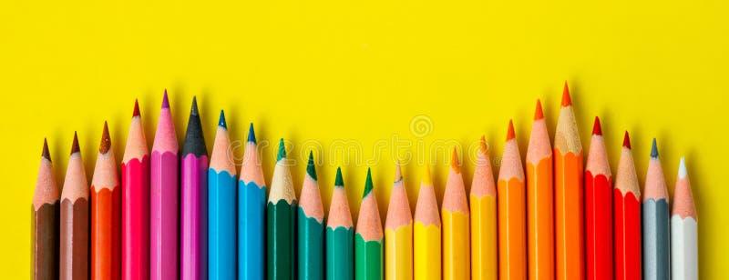 Colored pencil rainbow wave art school education stock photo