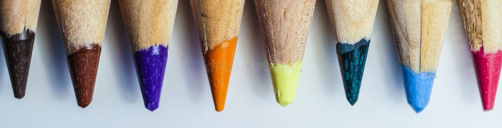 Colored pencil tips royalty free stock photography