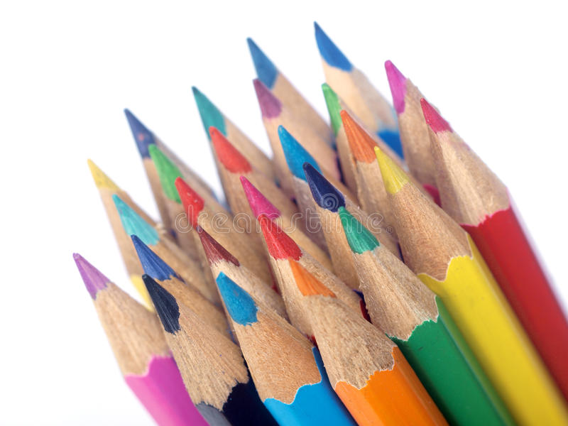 Colored Pencils. Collection of colored pencils on white background royalty free stock photo