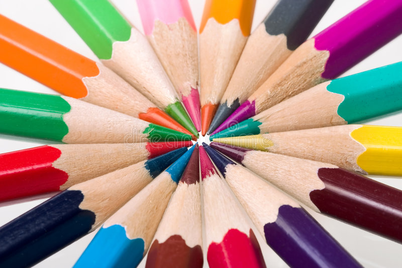 Colored pencils stock photos