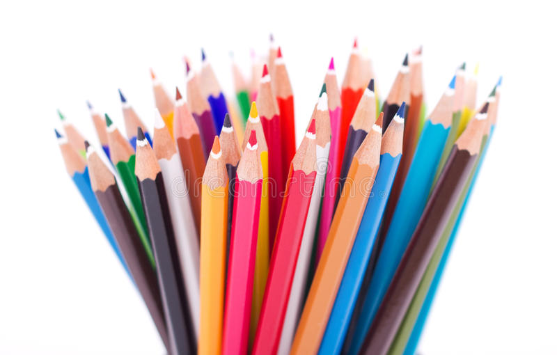 Colored pencils. Set of colored pencils isolated on white background royalty free stock photo