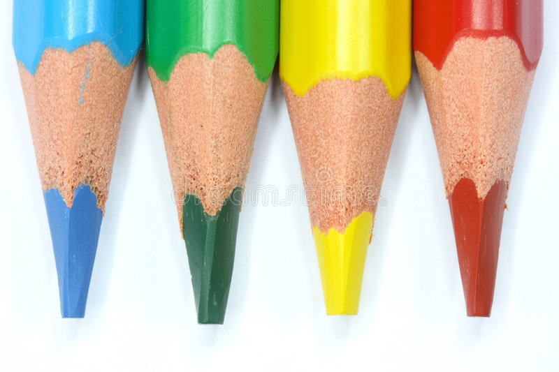 Colored pencils. On a white background stock photography