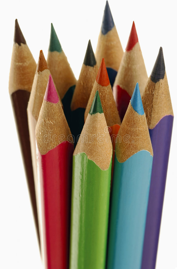 Colored pencils. Sharpened colored pencils royalty free stock photo