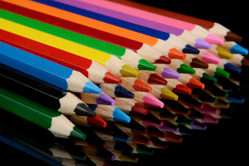 Download Colored Pencils  On Black Background With Reflection Stock Image - Image: 83702003