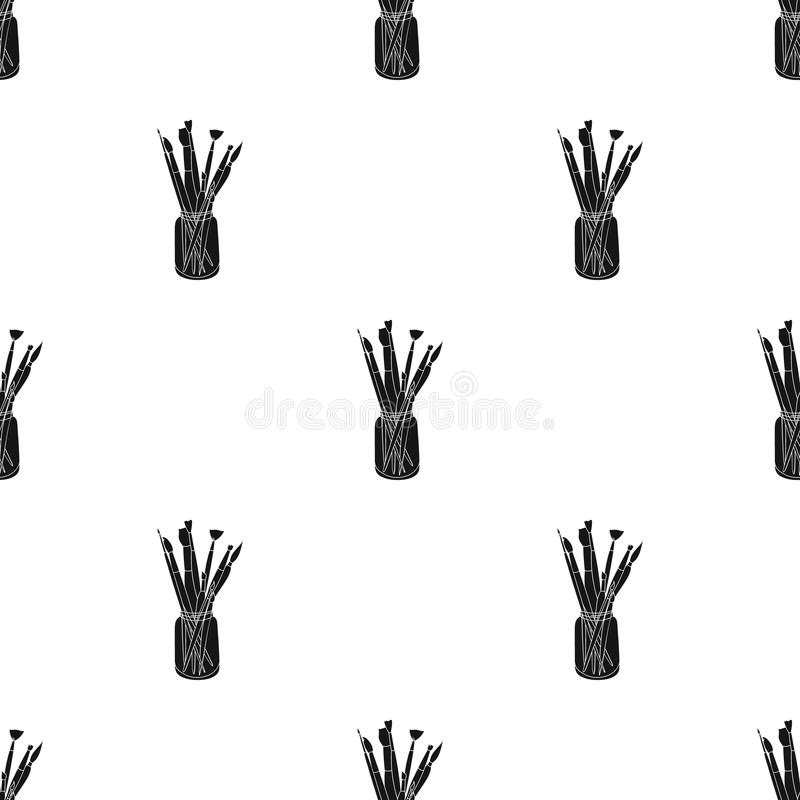 Colored pencils for drawing in box icon in Black style isolated on white background. Artist and drawing pattern stock royalty free illustration