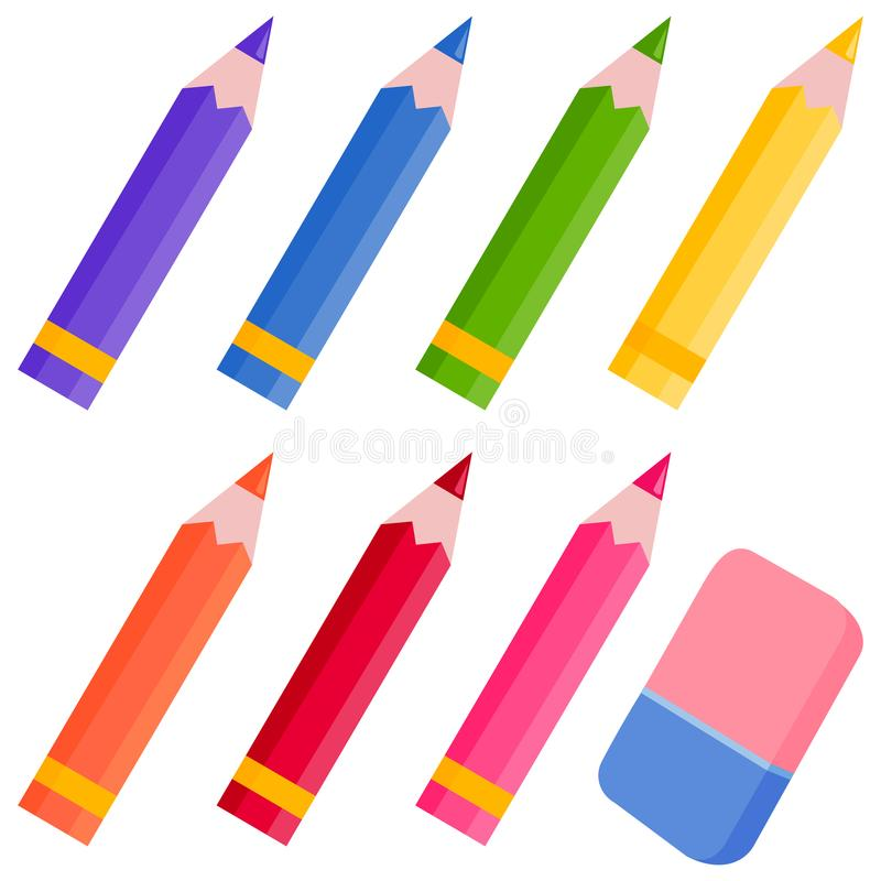 Colored pencils and eraser royalty free illustration