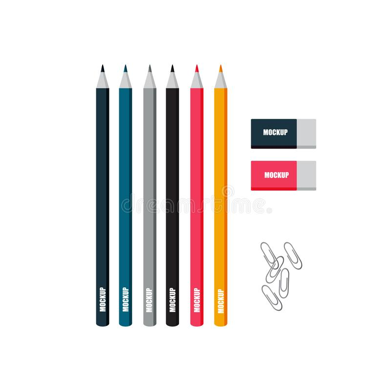 Colored pencils erasers metal clips vector mocap vector illustration