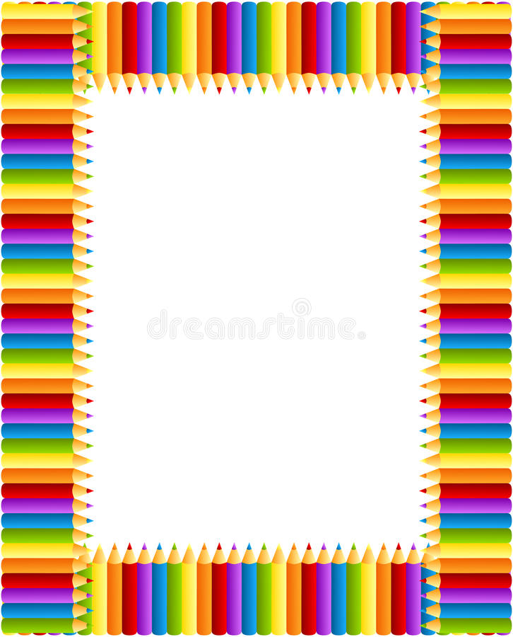 Colored Pencils Frame. Invitation card or frame with rainbow colors pencils and inner copy space stock illustration