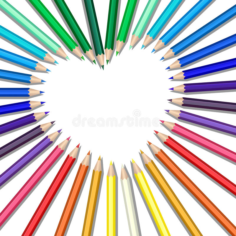 Download Colored pencils heart stock vector. Image of love, wooden - 26150061