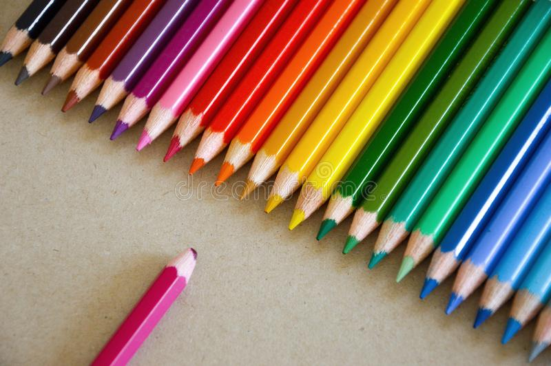Colored pencils on a light background. school supplies. office supplies. stock photo
