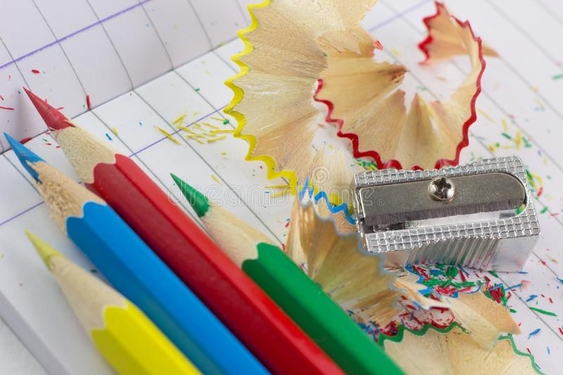 Colored Pencils and sharpened royalty free stock images