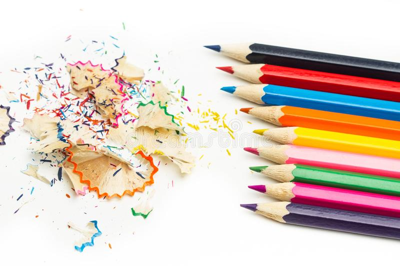 Colored pencils with pencil shavings royalty free stock photos