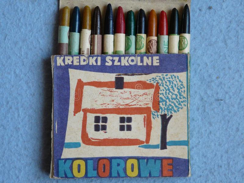 Colored pencils produced in Poland in the 1970 s of the 20th century stock photography