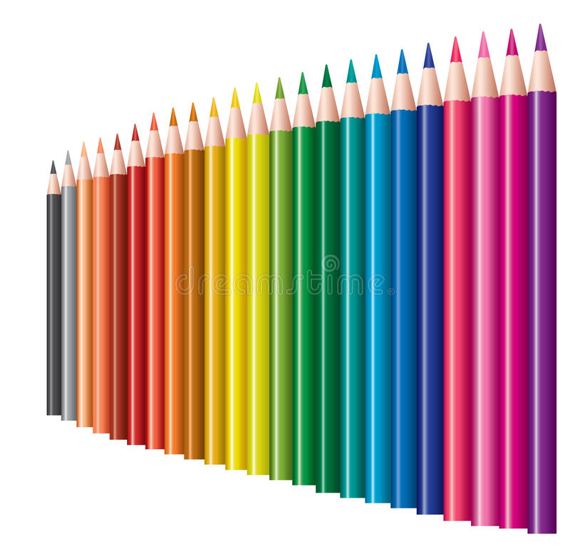 Colored pencils with reflection vector illustration
