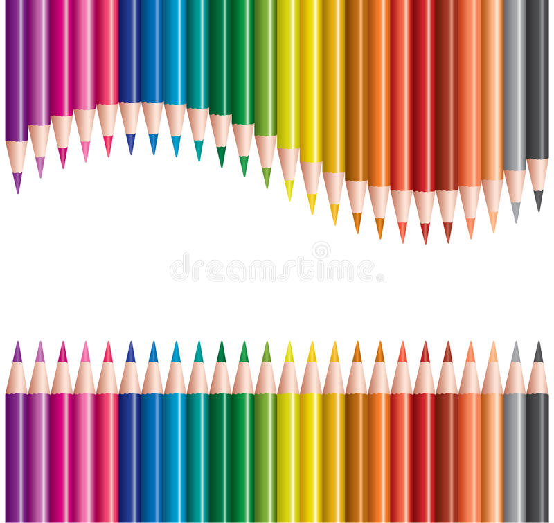 Colored pencils in rows stock illustration