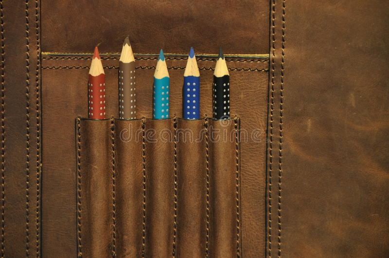 Download Colored pencils in satchel stock photo. Image of concept - 21075564