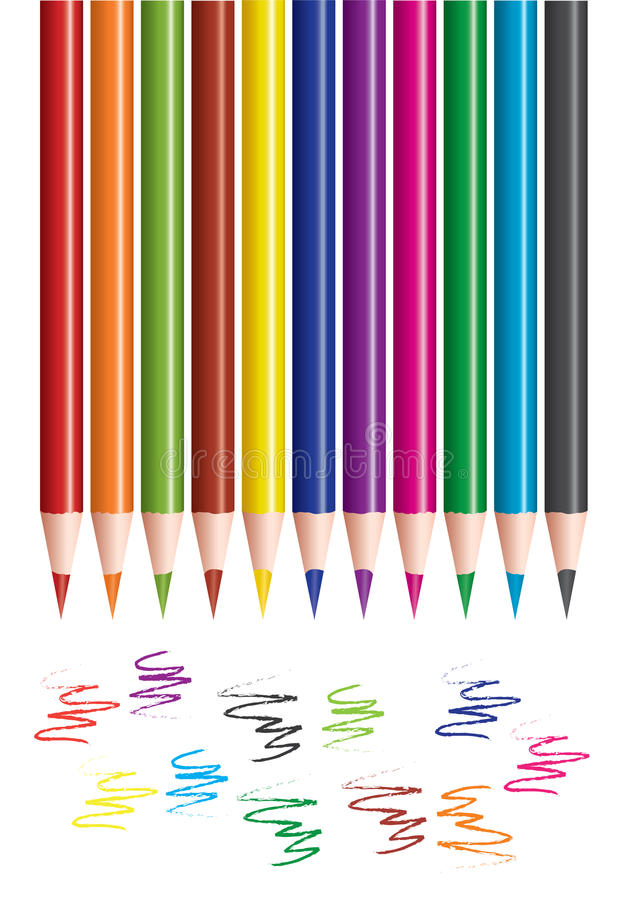 Colored pencils and scribbles royalty free illustration