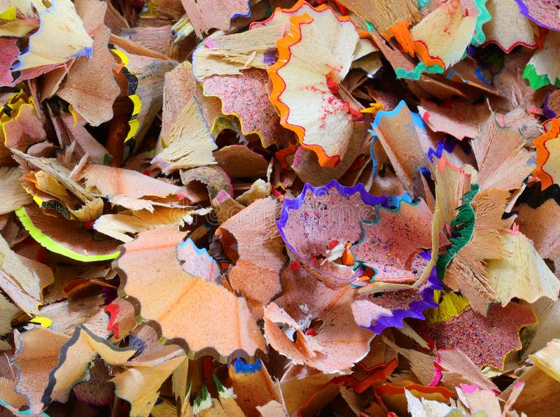 colored pencils shavings royalty free stock image