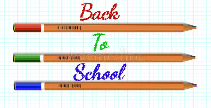 Colored pencils on a sheet of paper and inscription Back to Scho stock images