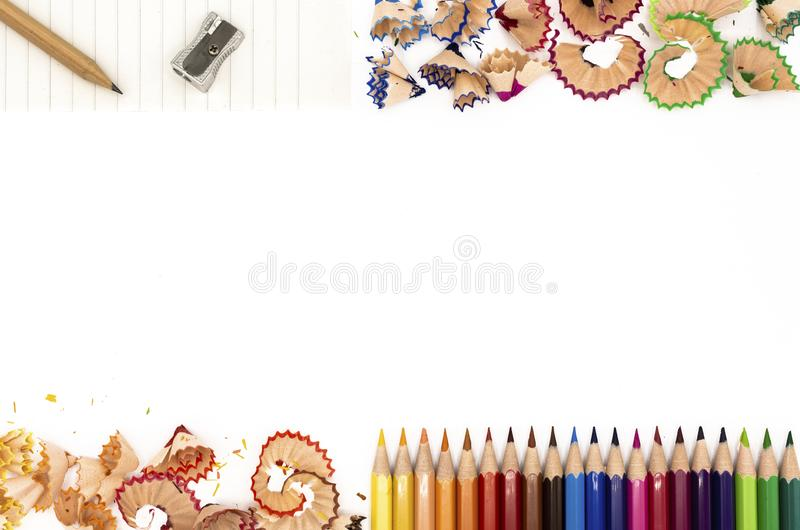Colored pencils with their shavings stock photo