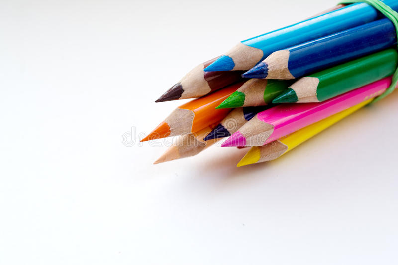 Colored pencils to draw royalty free stock photos
