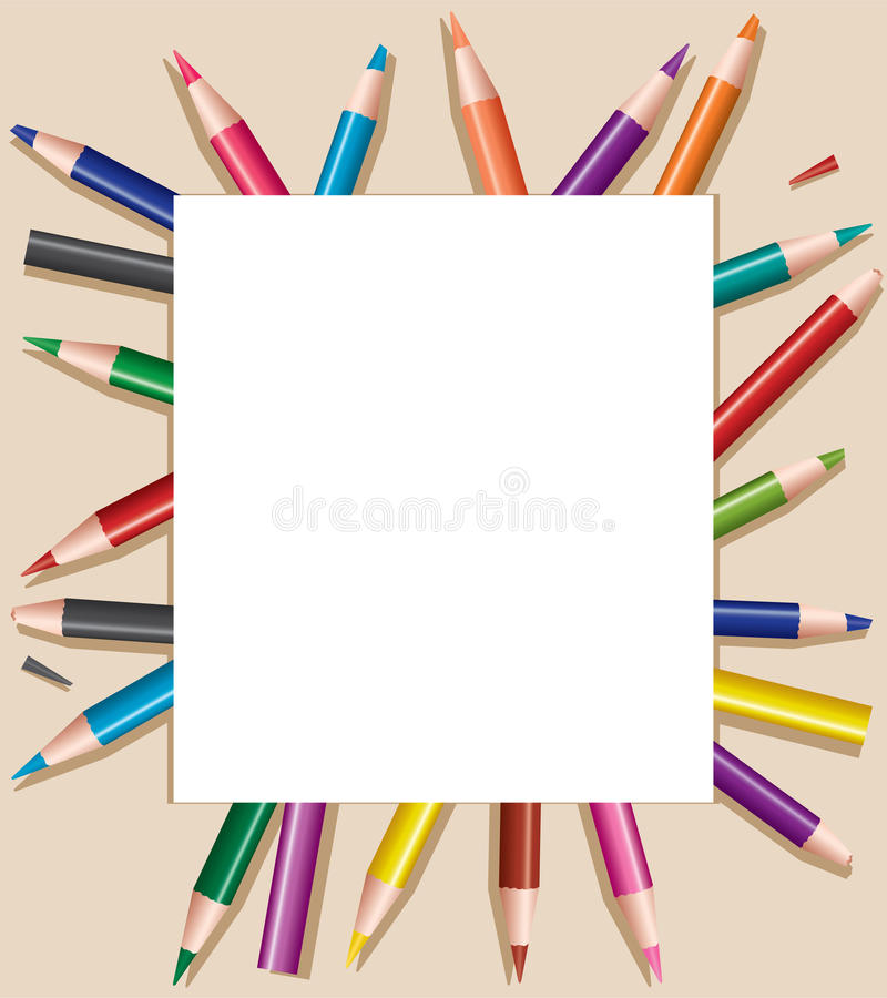 Colored pencils under sheet of paper vector illustration