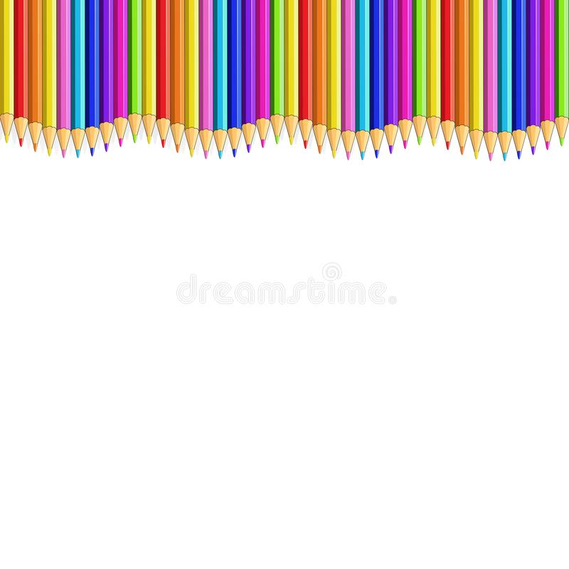 Free Colored Pencils Up Line In Shape Of Wave, Border Royalty Free Stock Photo - 140116875