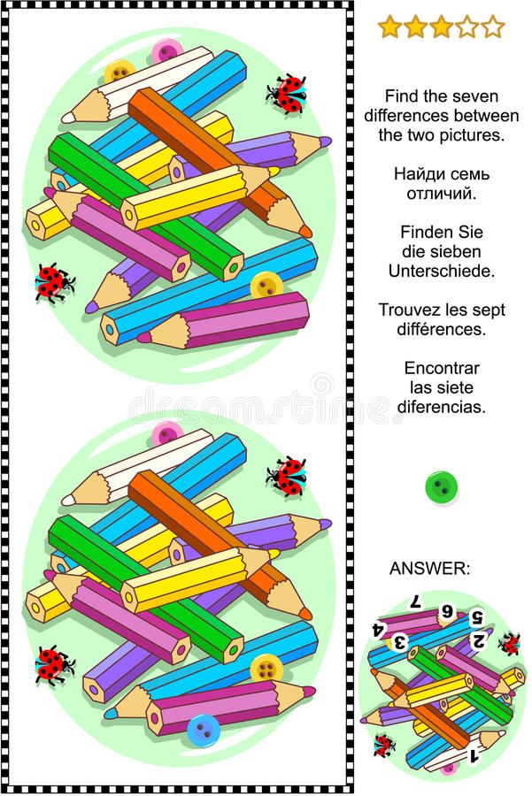 Colored pencils visual riddle - find the differences. Visual puzzle: Find the seven differences between the two pictures with colored pencils, sewing buttons and royalty free illustration
