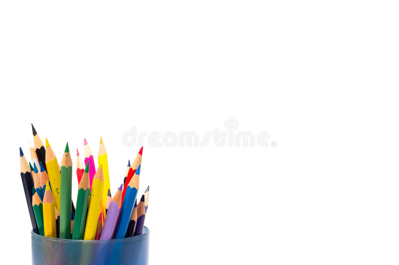 Colored pencils on a white background royalty free stock images