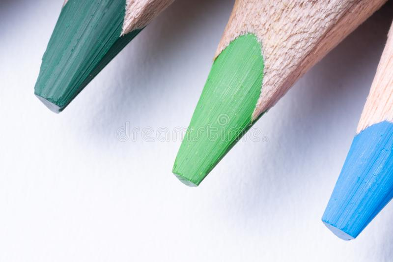 Colored Pencils on a white background, close up. macro royalty free stock photo