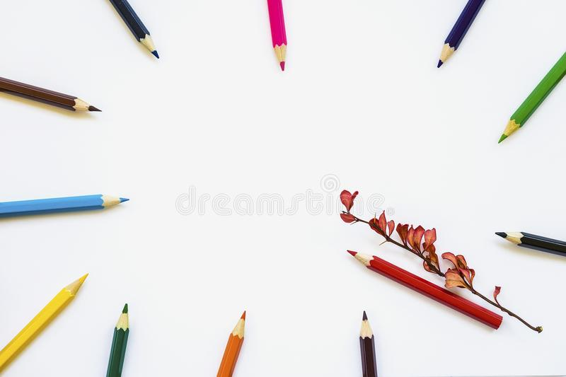 Colored pencils on white notebook, album background, red autumnal branch. Concept back to school. Space for text royalty free stock image