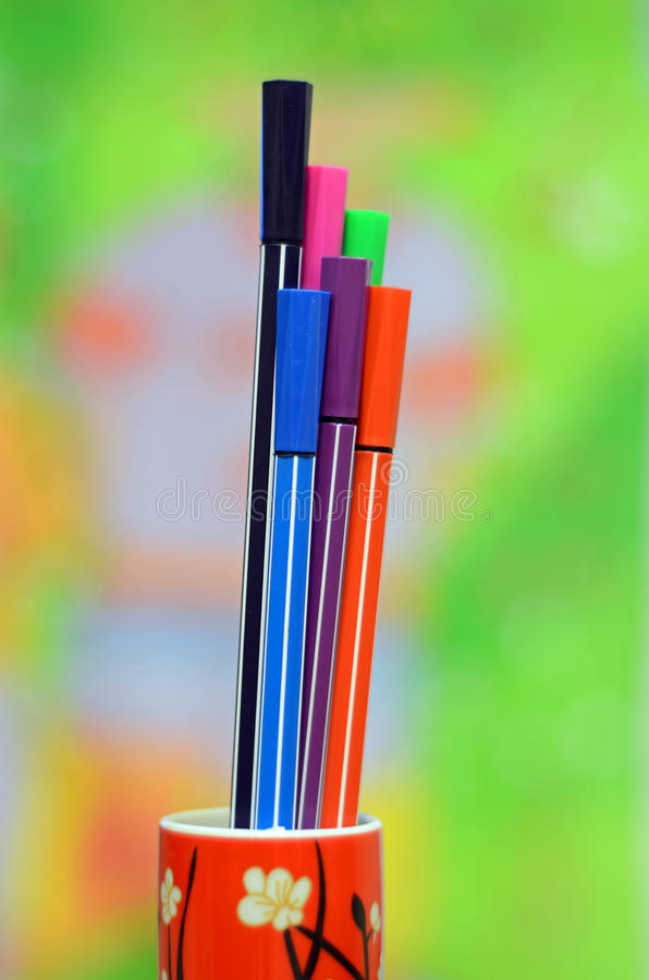 Colored Pens Royalty Free Stock Photography