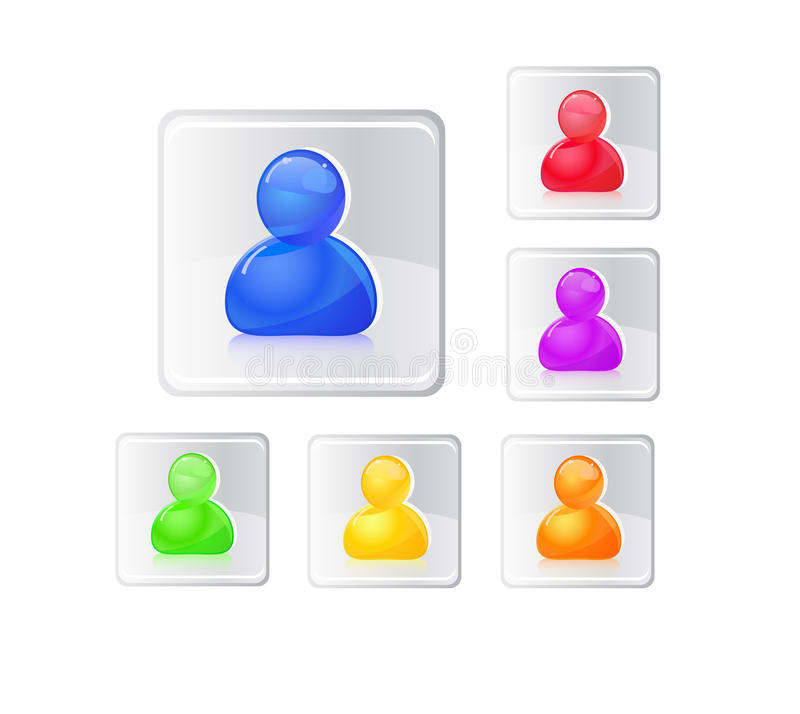 Colored People Icon Set. Royalty Free Stock Images