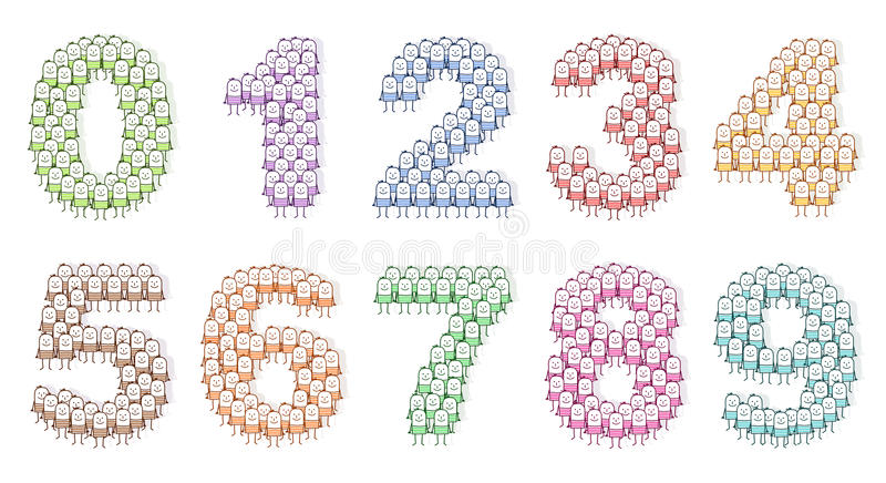 Colored People Art Numbers 0 To 9 Stock Illustration Image 15046659