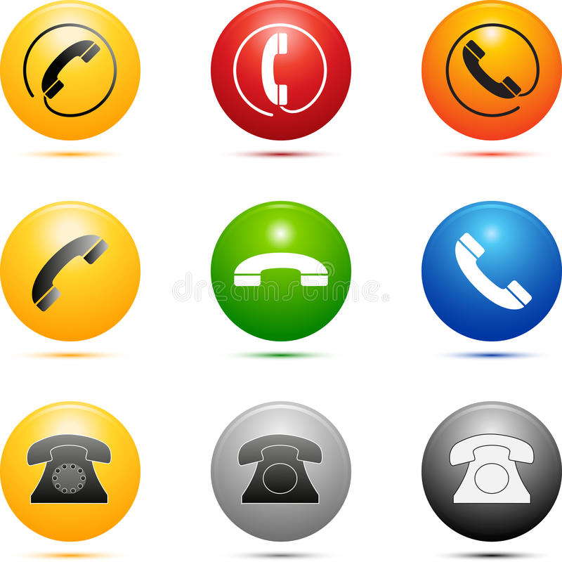 Colored Phone Icons. Colored style phone icon set