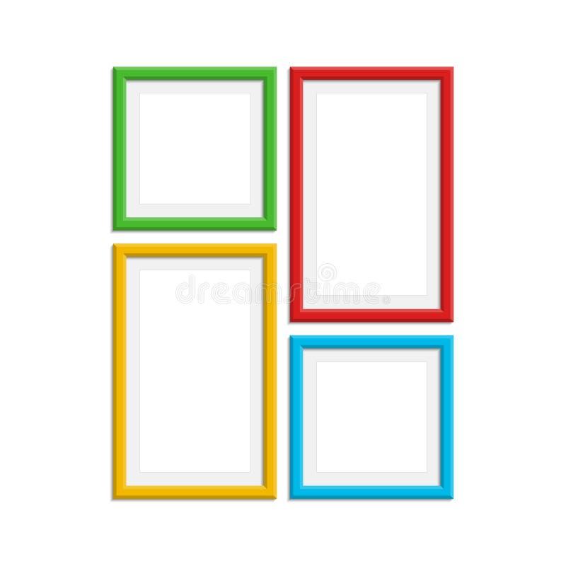 Colored photo frame set. stock vector. Illustration of border ...