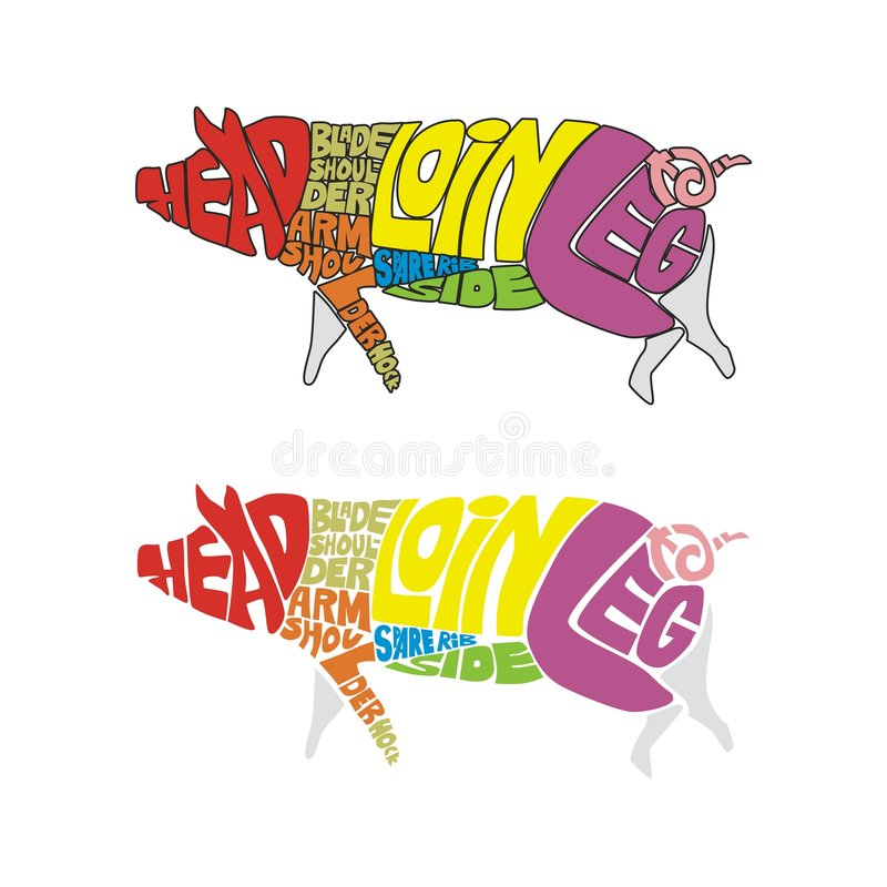 Download Colored pig parts stock vector. Illustration of words - 7506908