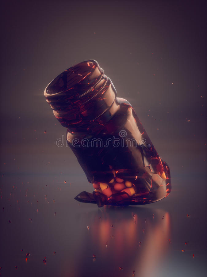 Colored pills and broken jar 3d rendering vector illustration