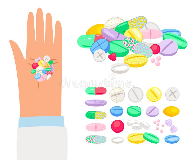 Colored pills and tablet in human hand vector illustration