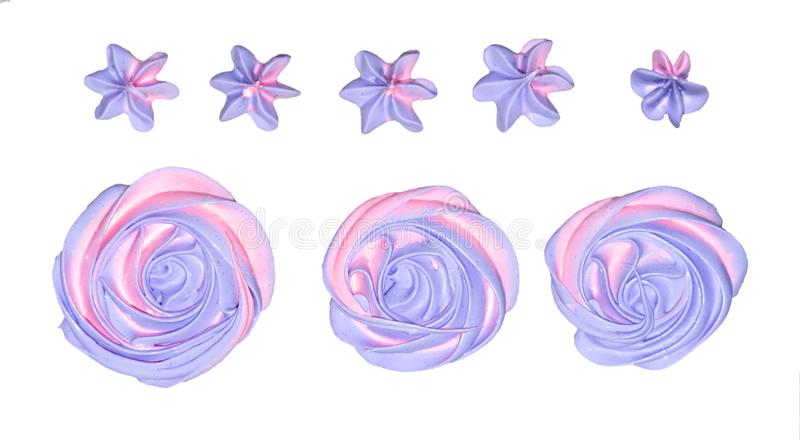 Colored pink and marshmallow marshmallows in the shape of a flower for decoration of a festive dessert on an isolated white backgr. Ound royalty free stock photos